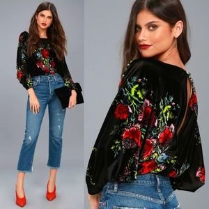 Free People Slouchy Babe Floral Velvet Bodysuit